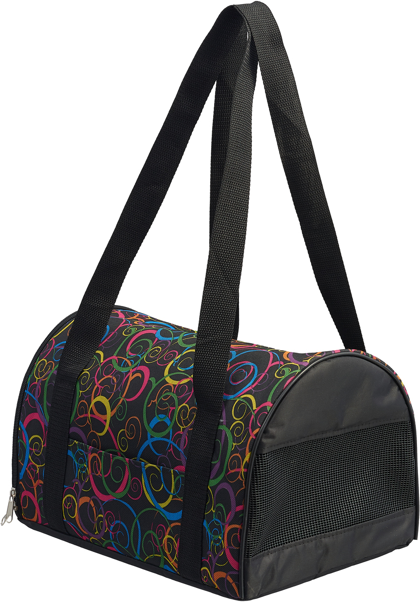 Сумка-переноска для животных Теремок, цвет: черный, 34 х 22 х 21 см сумка переноска для животных гамма стефани цвет синий 435 х 270 х 250 мм