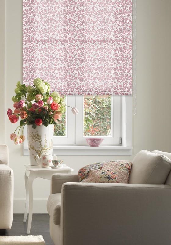 """Штора рулонная Эскар """"Бабочки"""", цвет: розовый, ширина 160 см, высота 160 см"""