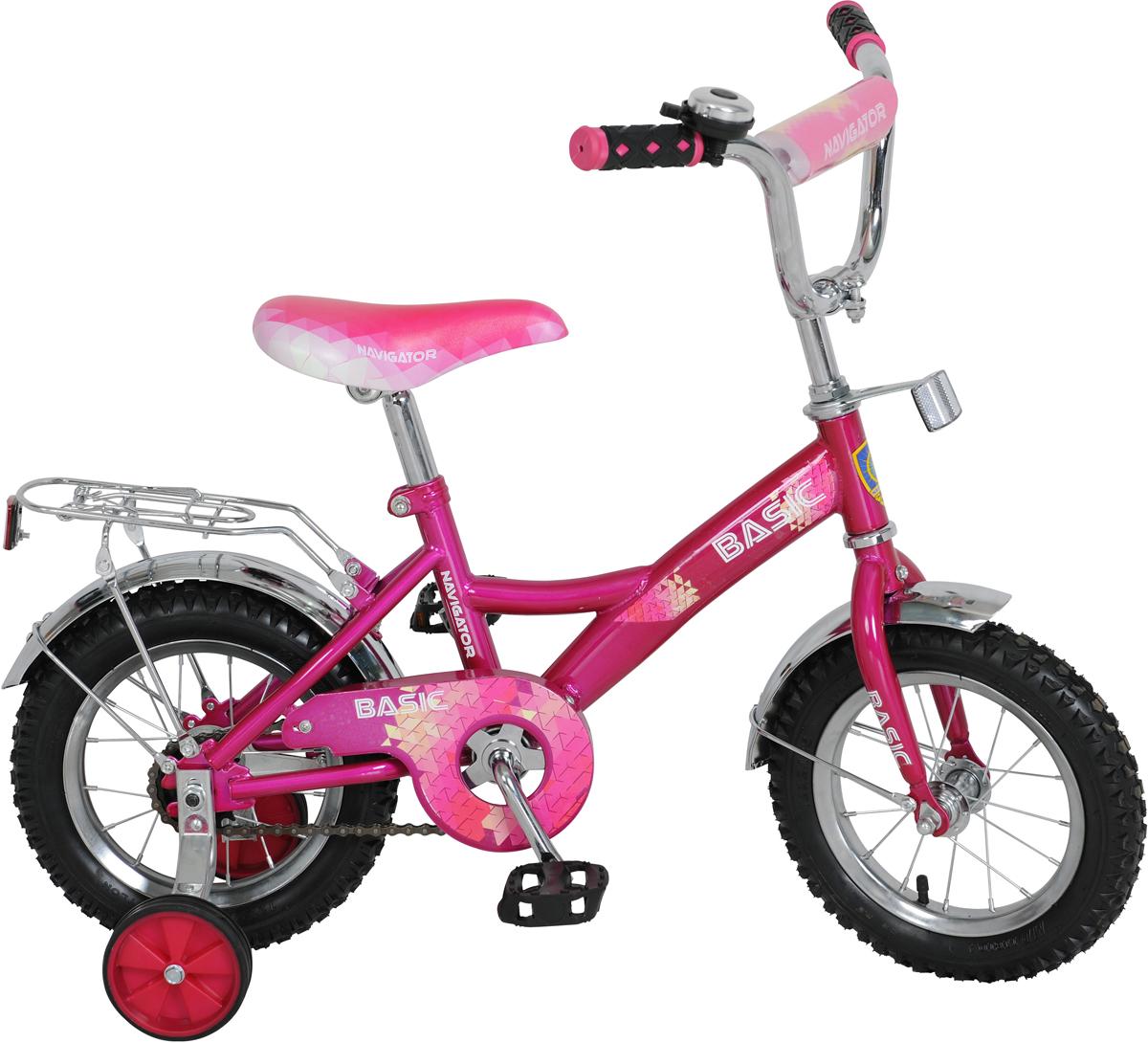 Велосипед детский Navigator Basic, цвет: розовый, колесо 12