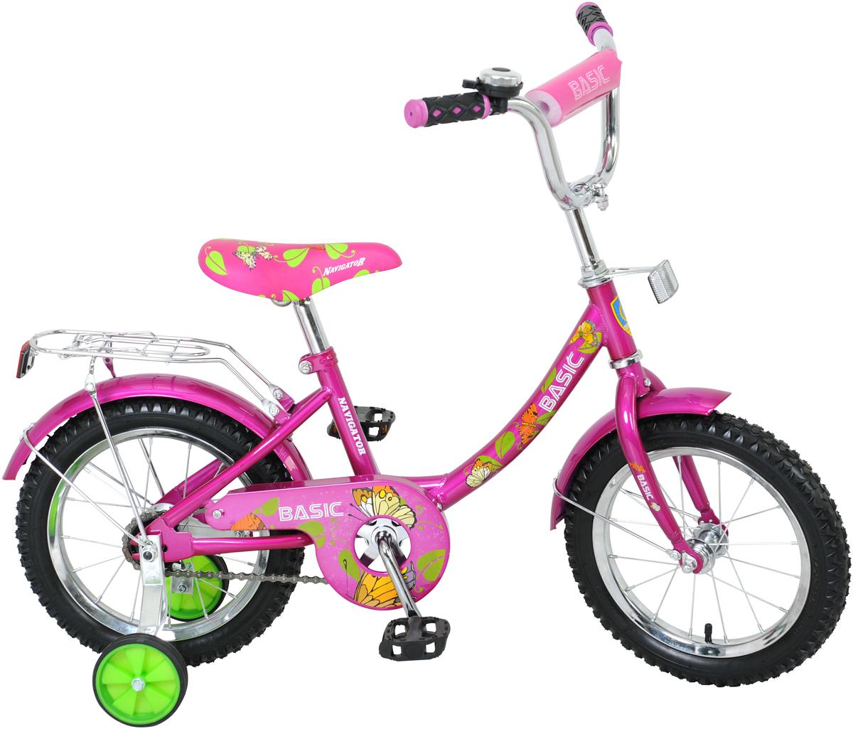 """Велосипед детский Navigator """"Basic"""", цвет: розовый, рама 12B, колесо 14"""""""