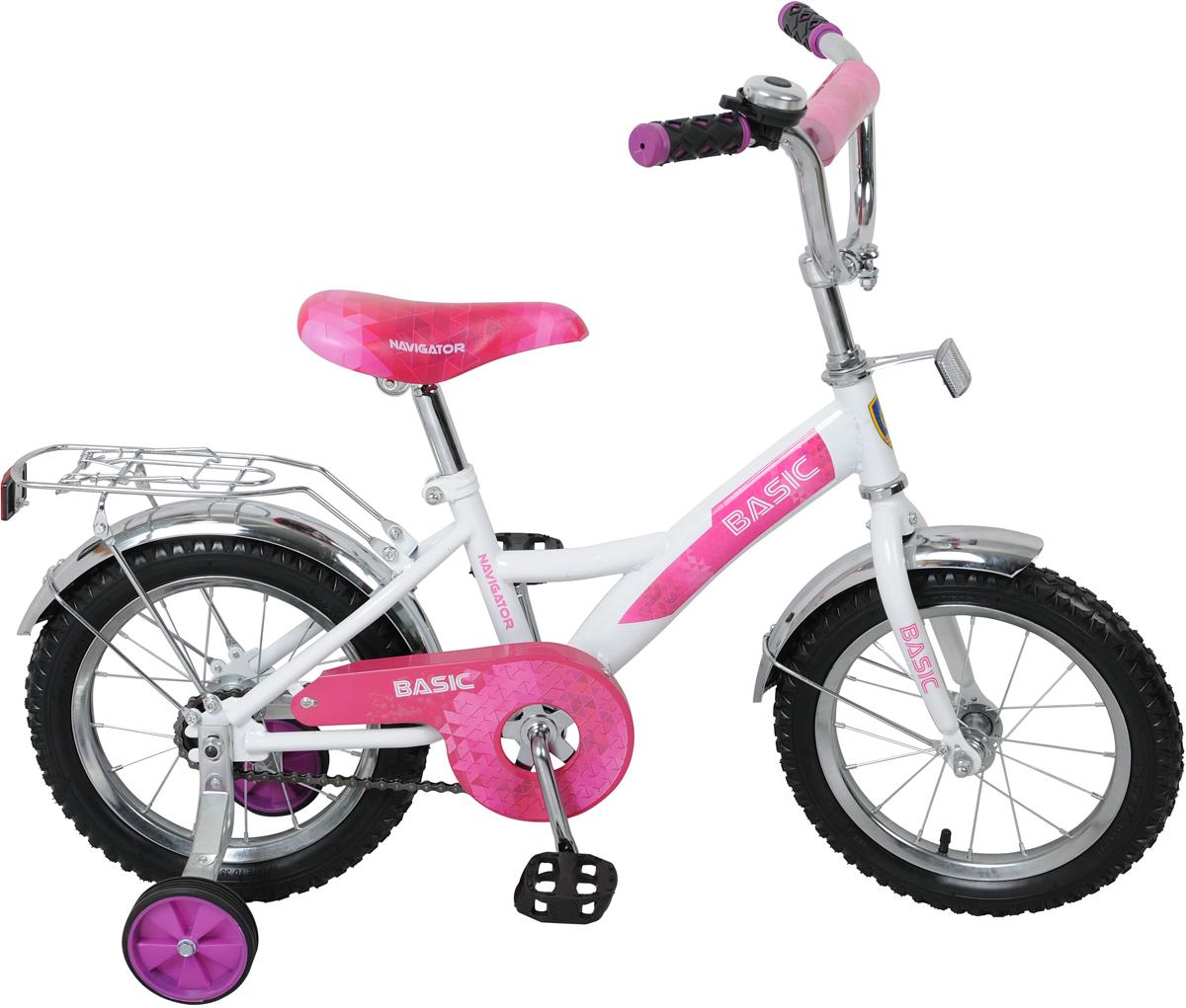 Велосипед детский Navigator Basic, цвет: белый, розовый, колесо 14 велосипед детский navigator basic kite 12