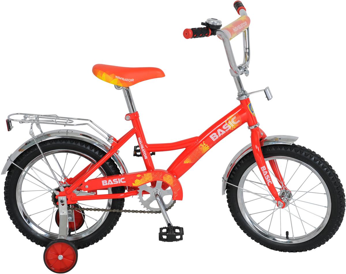 Велосипед детский Navigator Basic, цвет: красный, колесо 16 велосипед двухколесный navigator superman 16