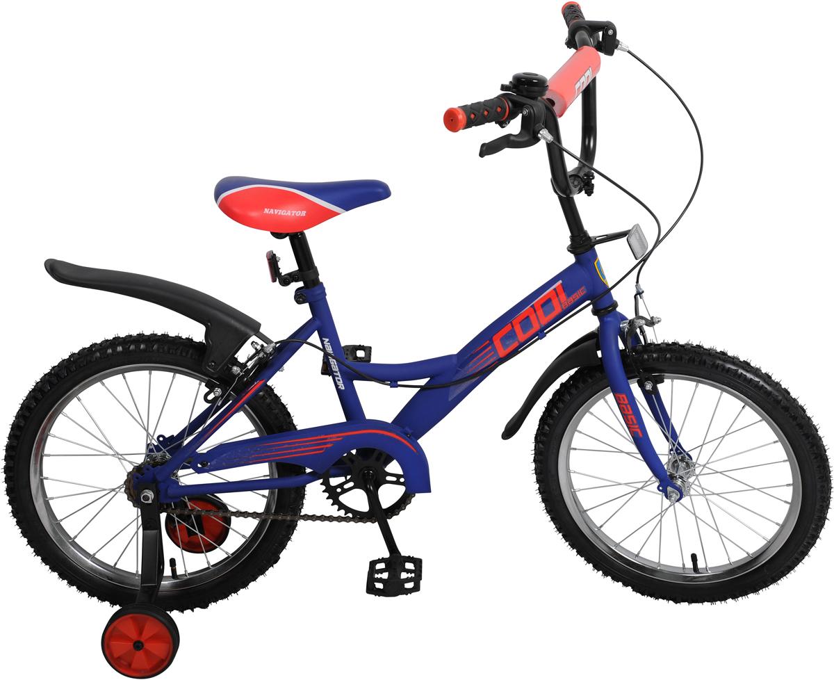 Велосипед детский Navigator Basic Cool, цвет: черный, колесо 18 костюм fisherman nova tour буран норд синий 46233 407 l