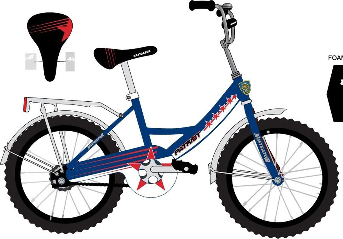 Велосипед детский NavigatorPatriot, цвет: синий, колесо, 20 велосипед детский navigator superman цвет голубой 18 вн18080