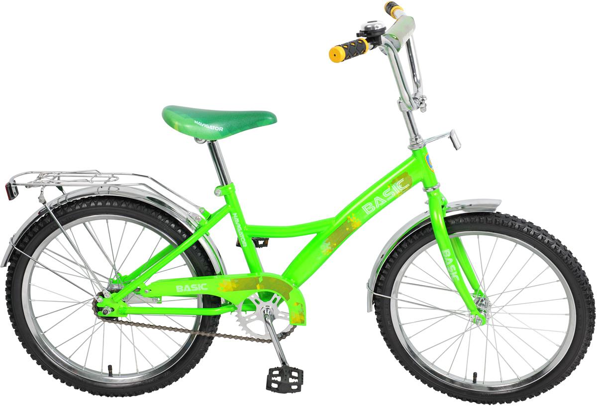 Велосипед детский Navigator Basic, цвет: зеленый, колесо 20