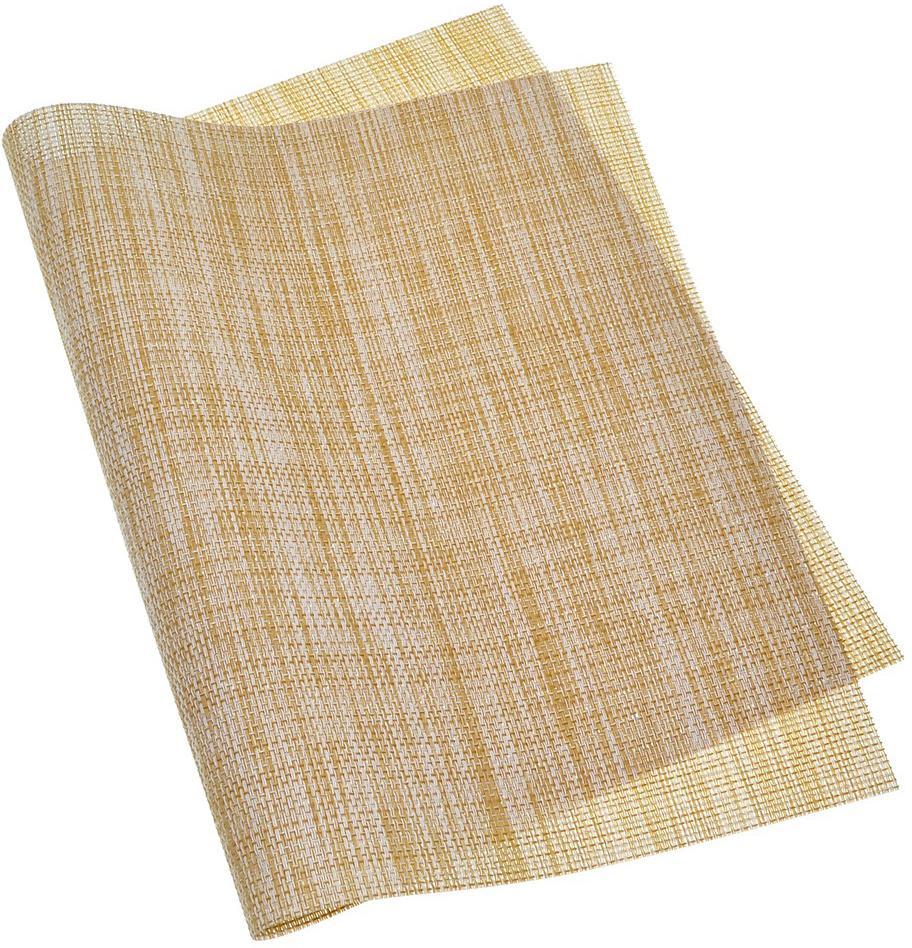 Салфетка предназначена для сервировки стола и украшения интерьера кухни, столовой, гостиной. Изготовлена из материала Текстилен (70% ПВХ + 30% полиэстер), способом высококачественного плетения полиэстеровых нитей, покрытых поливинилхлоридом.  Этот современный, высокотехнологичный материал обладает рядом уникальных свойств: не впитывает влагу, пропускает воздух, быстро сохнет и неприхотлив к солнечным лучам, термостоек – выдерживает температуру до 100°С, эластичен, износоустойчив и приятен на ощупь. Кроме того, салфетка отличается эффектным и стильным дизайном, подходящим для любого интерьера.  Внимание! Нельзя гладить утюгом и помещать в духовой шкаф.