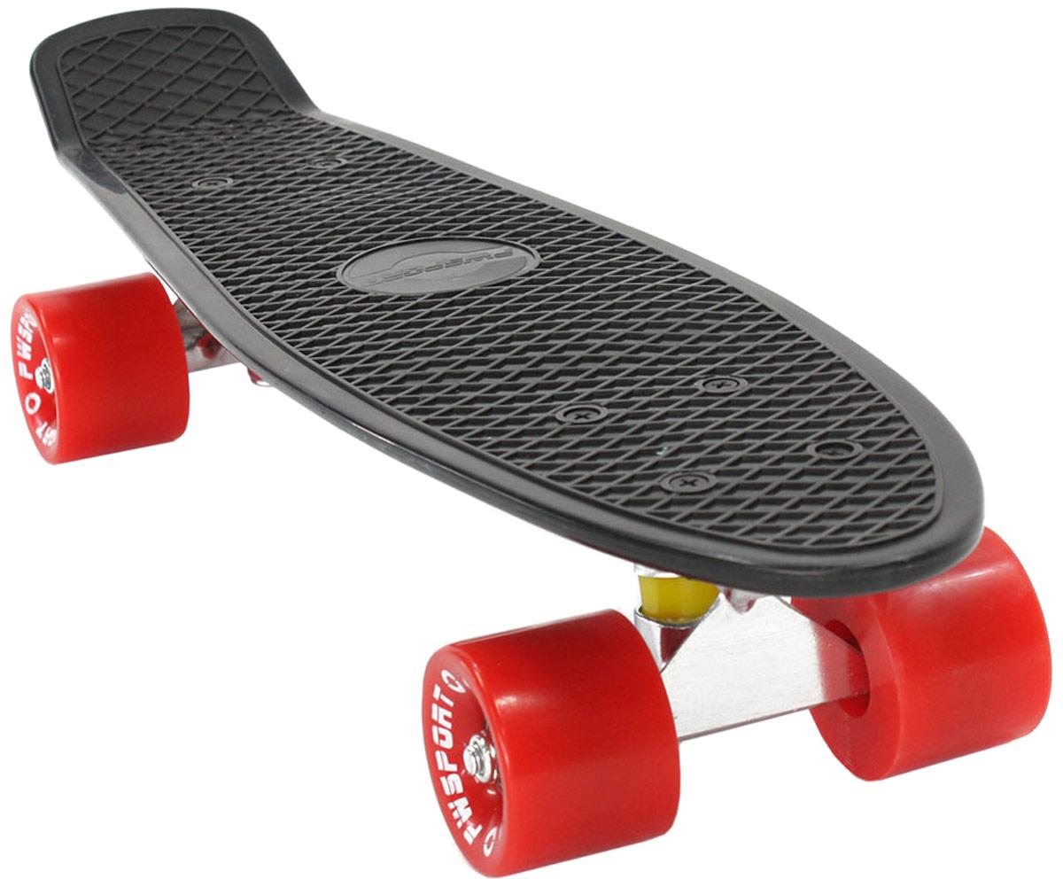 Скейтборд PWSport Classic, цвет: черный, красный, дека 22 скейтборд 8 колес