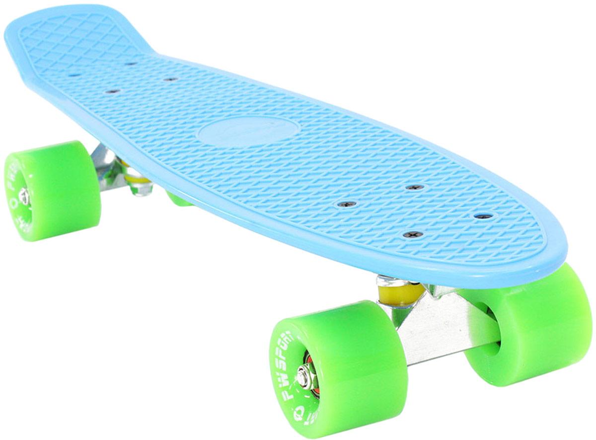 Скейтборд PWSport Classic, цвет: синий, зеленый, дека 22 скейтборд pwsport grip 3d цвет зеленый белый дека 22