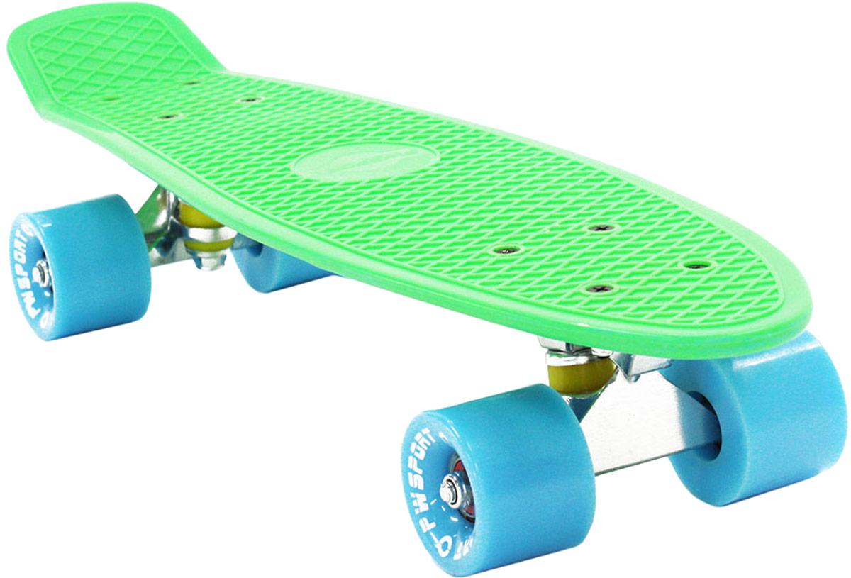 Скейтборд PWSport Classic, цвет: зеленый, синий, дека 22 алмазная насадка 85 синяя средняя жесткость d 3 3 мм