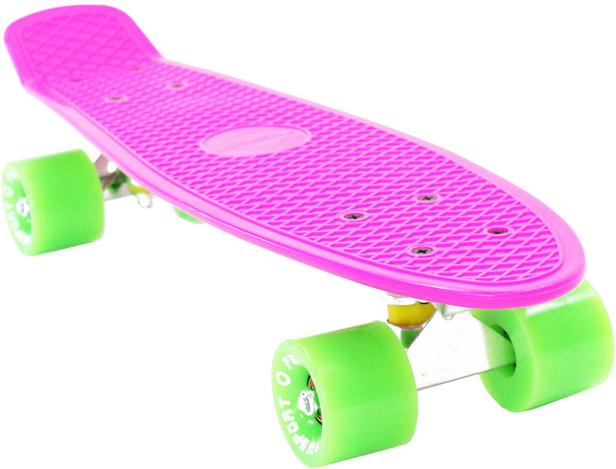 Скейтборд PWSport Classic, цвет: розовый, зеленый, дека 22 скейтборд 8 колес