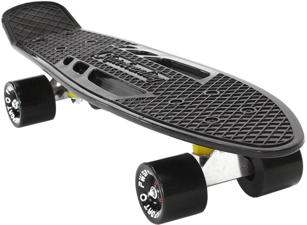 Скейтборд PWSport Fish, цвет: черный, дека 22 скейтборд 8 колес