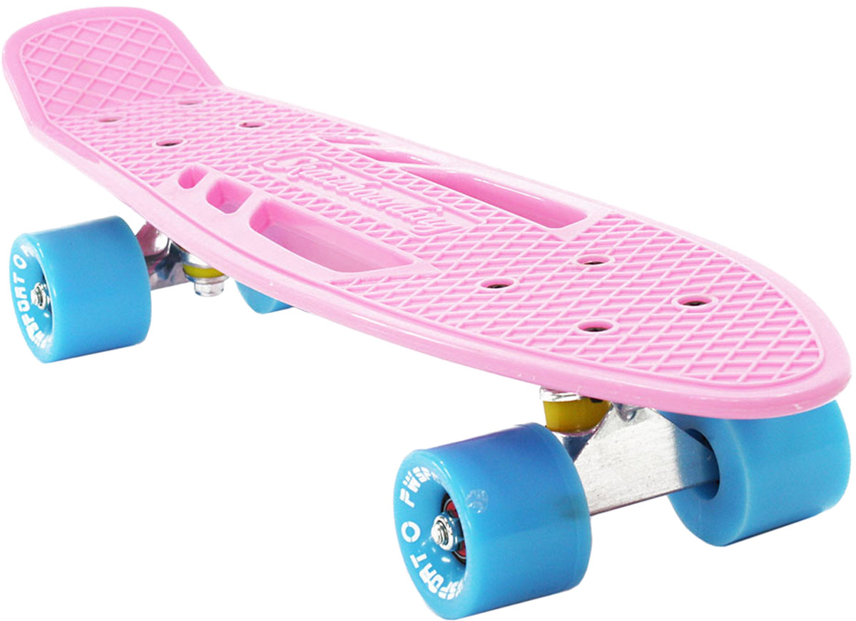 Скейтборд PWSport Fish, цвет: розовый, дека 22 скейтборд 8 колес