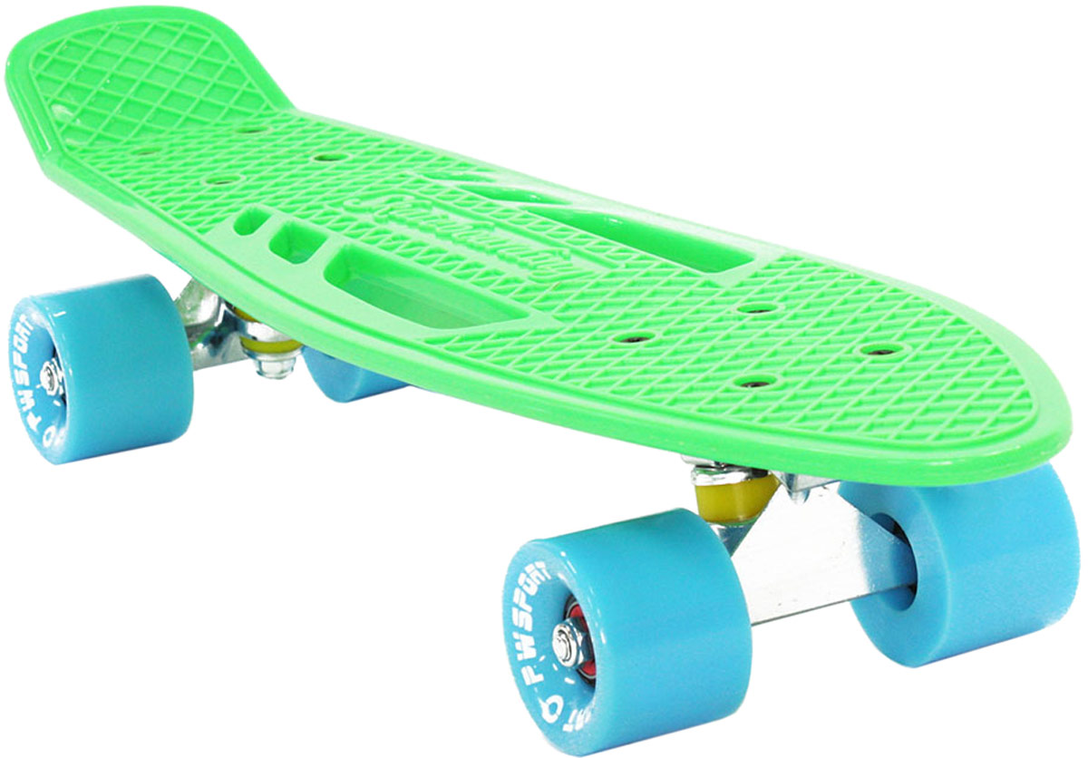 Скейтборд PWSport Fish, цвет: зеленый, дека 22 скейтборд 8 колес