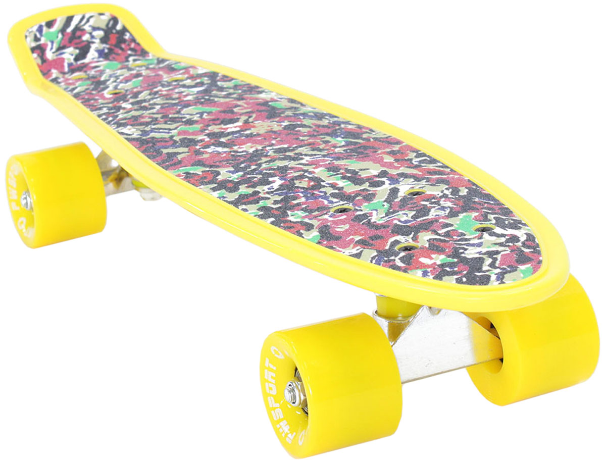 Скейтборд PWSport Grip. Splash, цвет: желтый, дека 22 скейтборд 8 колес
