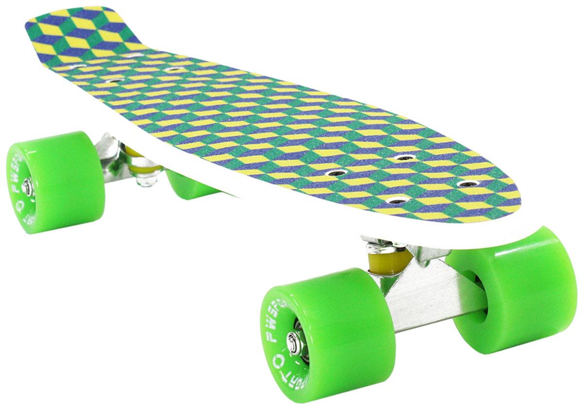 Скейтборд PWSport Grip. 3D, цвет: зеленый, белый, дека 22 скейтборд pwsport grip 3d цвет зеленый белый дека 22