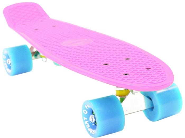 Скейтборд PWSport Classic, цвет: розовый, голубой, дека 22 скейтборд 8 колес