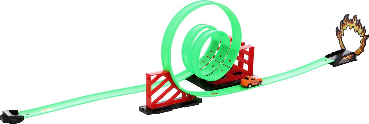 Tongde Игрушечный трек с машинкой с кольцевыми участками 17 элементов длина 300 см машины игруша трек 300 см