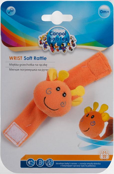 Canpol Babies Мягкая игрушка с погремушкой на руку цвет оранжевый