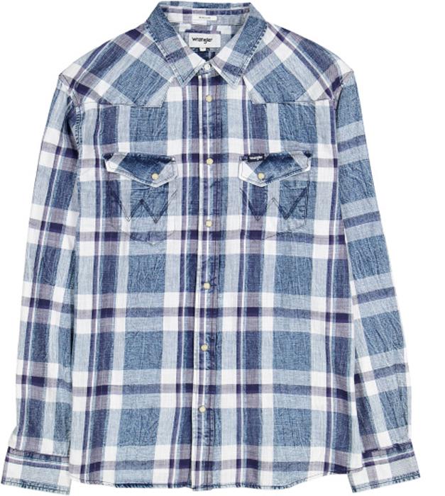 Рубашка мужская Wrangler, цвет: синий. W5969SF5H. Размер XXL (54)