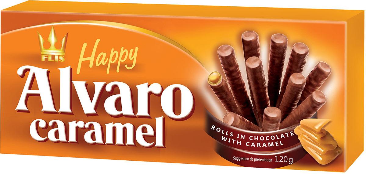 Flis Happy Alvaro Caramel трубочки вафельные с карамелью в шоколаде, 120 г вода aqua minerale с газом 0 6 л 12шт
