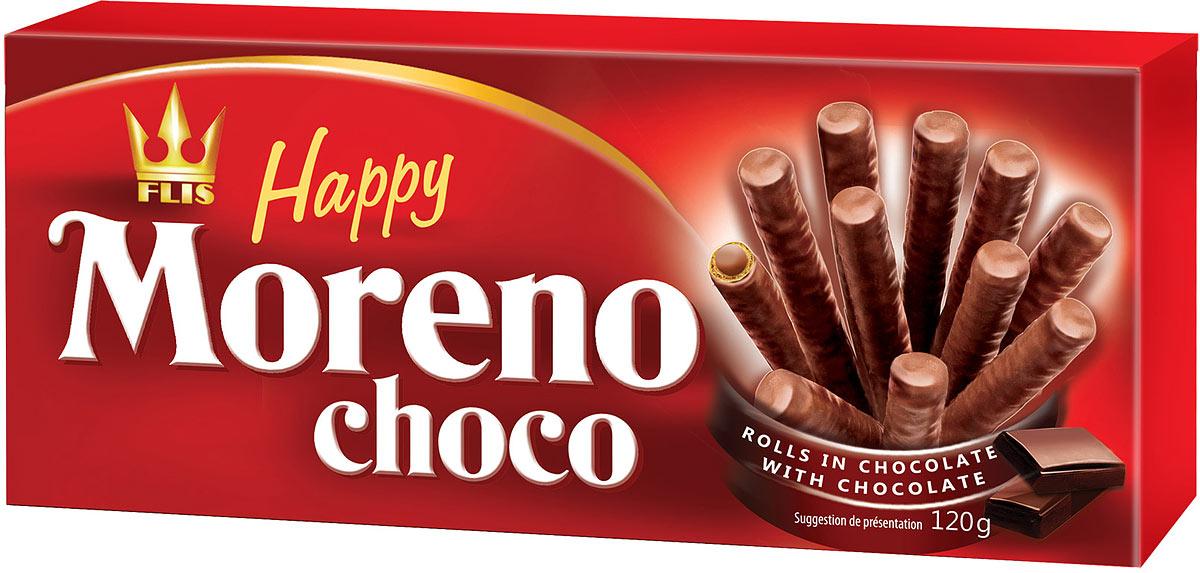 Flis Happy Moreno Choco трубочки вафельные в шоколаде, 120 г bauli круассаны на натуральной закваске с шоколадным кремом 20% 6 шт по 50 г