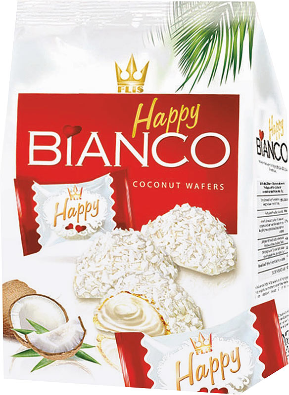 Flis Happy Bianco Red кокосовые глазированные конфеты, 140 г медвеган конфеты глазированные арахис в мягкой карамели 345 г