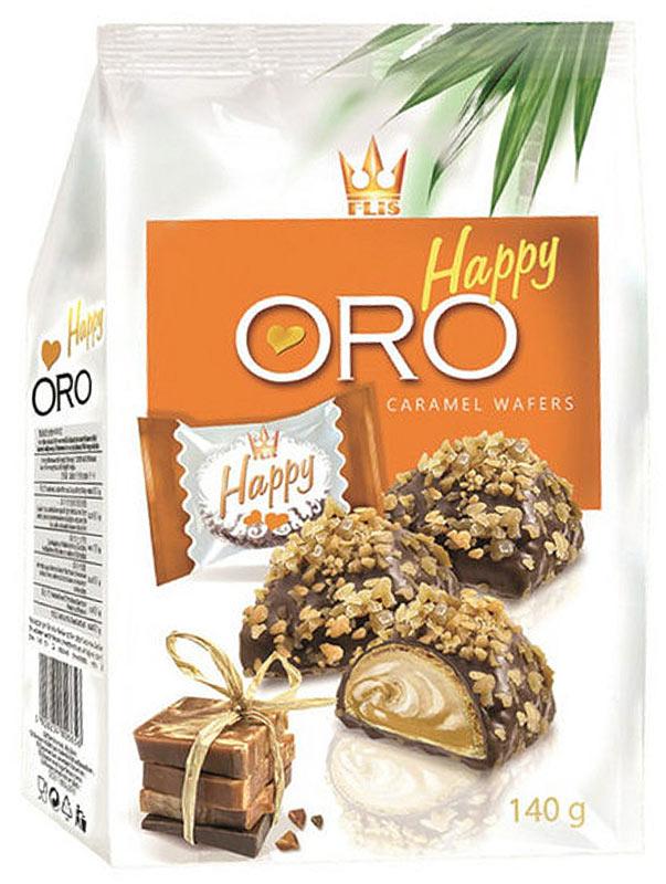 Flis Happy Oro карамельные глазированные конфеты, 140 г flis happy time ореховые глазированные конфеты 92 г