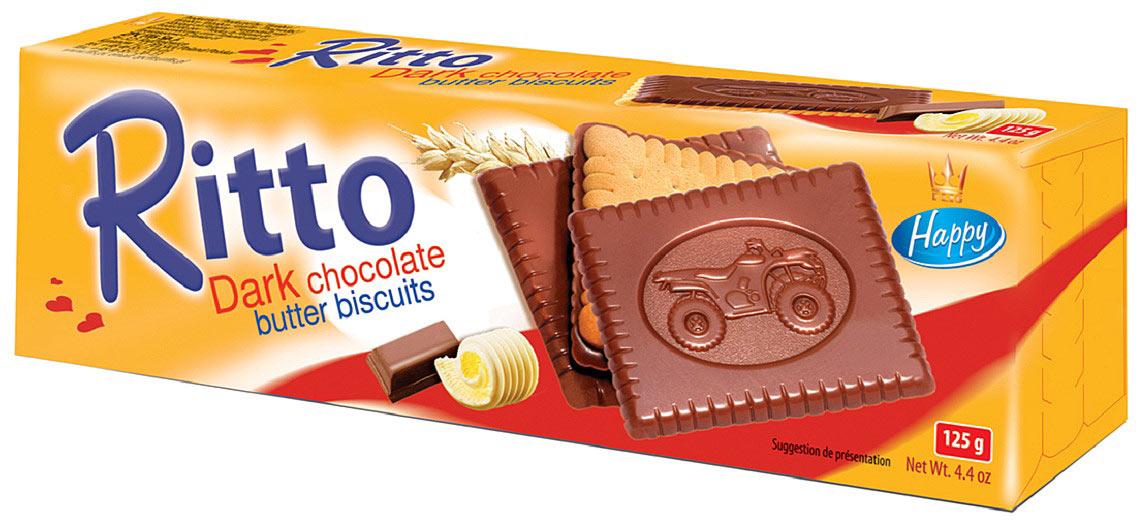 Flis Ritto Dark печенье сдобное в шоколаде, 125 г flis happy time ореховые глазированные конфеты 92 г