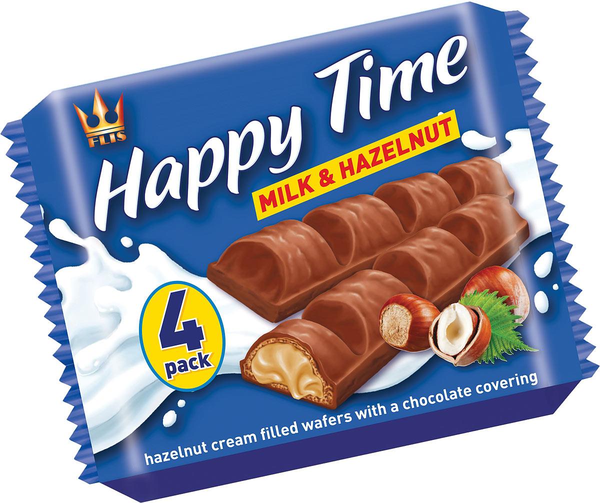 Flis Happy Time ореховые глазированные конфеты, 92 г kinder bueno вафли в молочном шоколаде с молочно ореховой начинкой 43 г