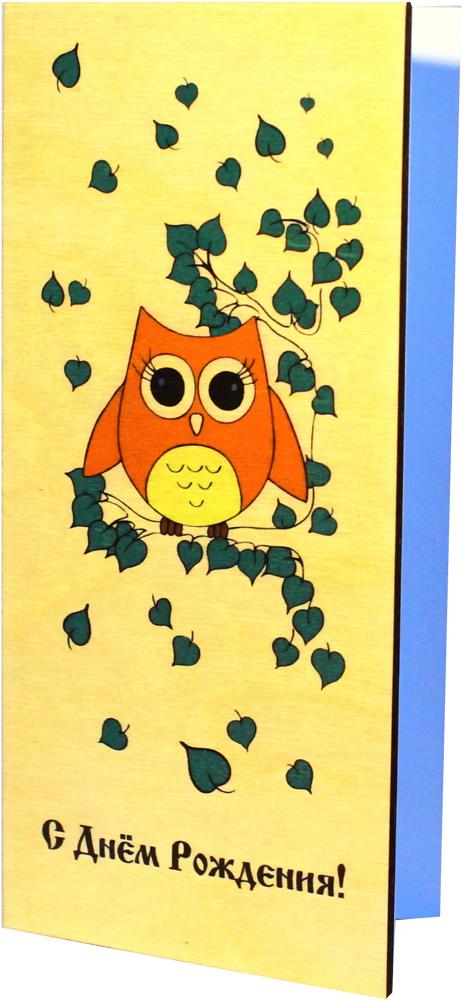 Открытка деревянная ручной работы Optcard С Днем Рождения!. 030-WP открытка деревянная ручной работы optcard с днем свадьбы 022 wp