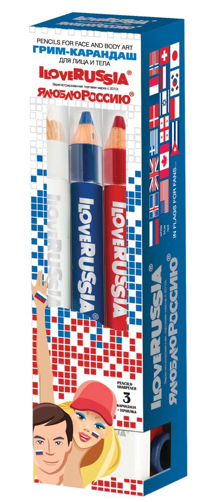 ILOVERUSSIA - Я ЛЮБЛЮ РОССИЮ Набор грим-карандашей для лица и тела (3 карандаша)