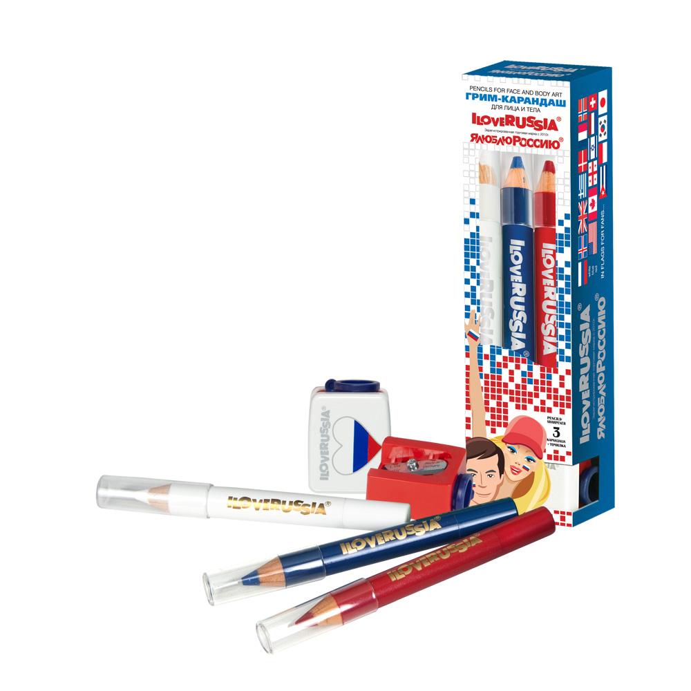 ILOVERUSSIA - Я ЛЮБЛЮ РОССИЮ Набор грим-карандашей для лица и тела (3 карандаша и точилка) красный театральный грим