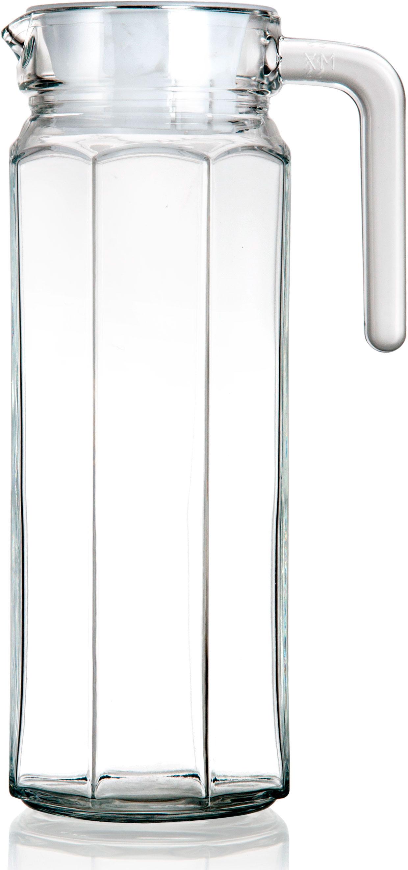 Кувшин с крышкой, простой и элегантный, станет незаменимым помощником на кухне. Объем 1200 мл,  кувшин выполнен из прозрачного стекла, крышка пластиковая белого цвета.