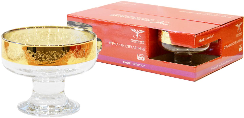 """Набор Гусь-Хрустальный """"Нежность"""" состоит из 6 креманок, изготовленных из высококачественного натрий-кальций-силикатного стекла. Изделия оформлены красивым зеркальным покрытием и широкой окантовкой с цветочным узором. Креманки прекрасно подойдут для подачи десертов и мороженого. Такой набор прекрасно дополнит праздничный стол и станет желанным подарком в любом доме. Разрешается мыть в посудомоечной машине. ."""