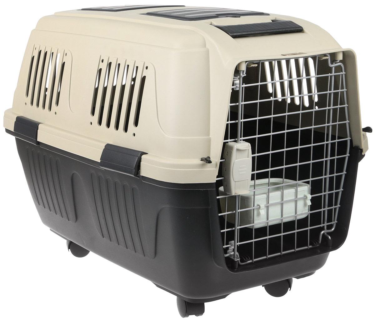 Переноска для собак Triol Standard Medium, цвет: черный, серый, 710 x 530 x 520 мм поводки triol поводок со светоотражающей строчкой серый размер l 25 x 1200мм