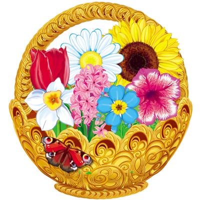 Корзинка с цветами (оформительский и дидактический набор, 65 картинок, ламинированный) cms 33 48 композиция корзинка с цветами pavone