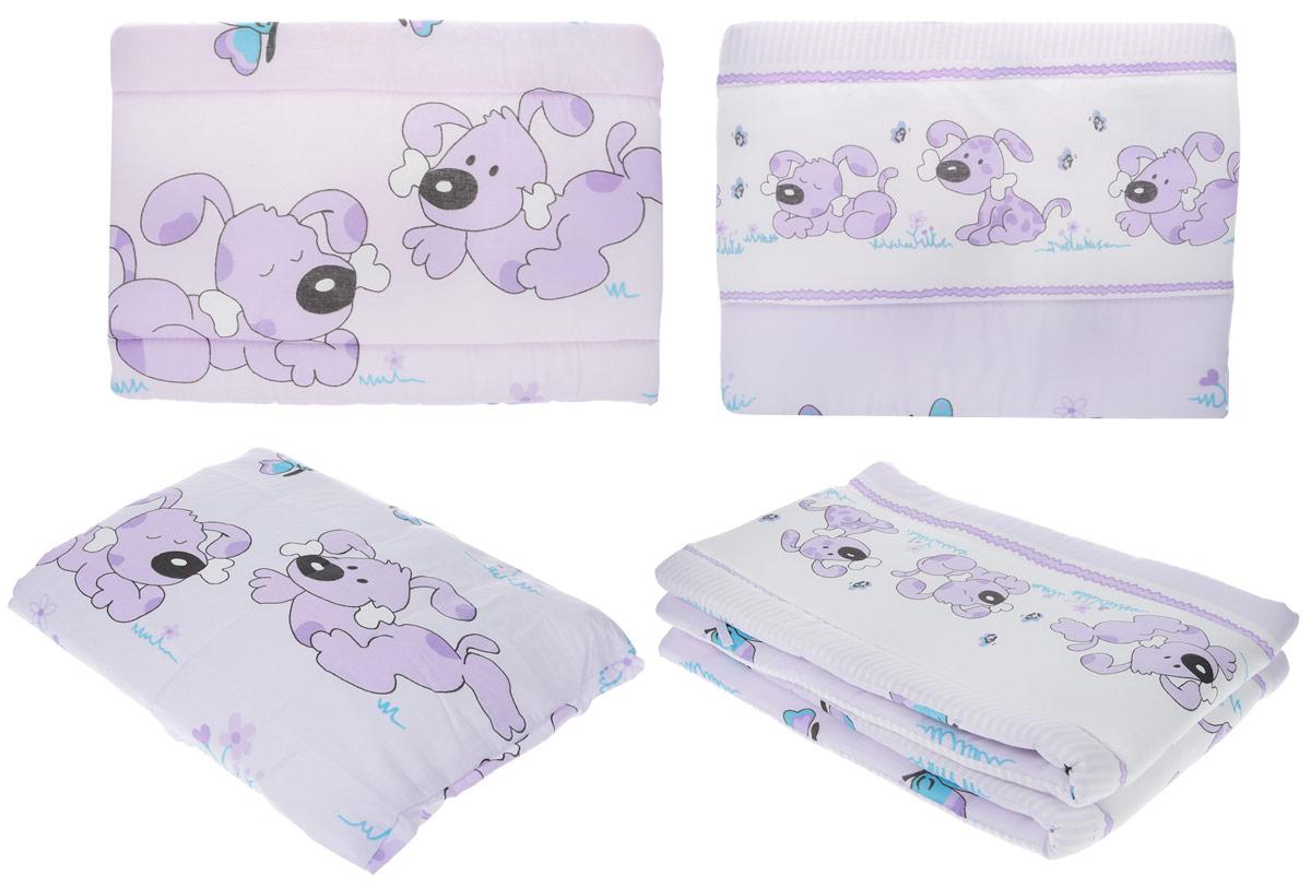 Топотушки Комплект детского постельного белья Дружок цвет белый сиреневый 7 предметов