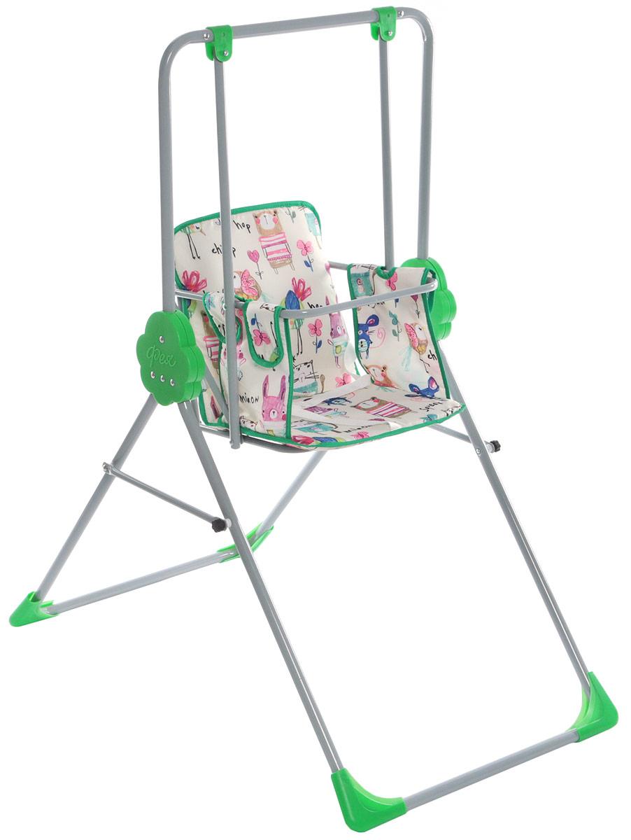 Фея Качели детские Малыш Животные цвет зеленый бежевый