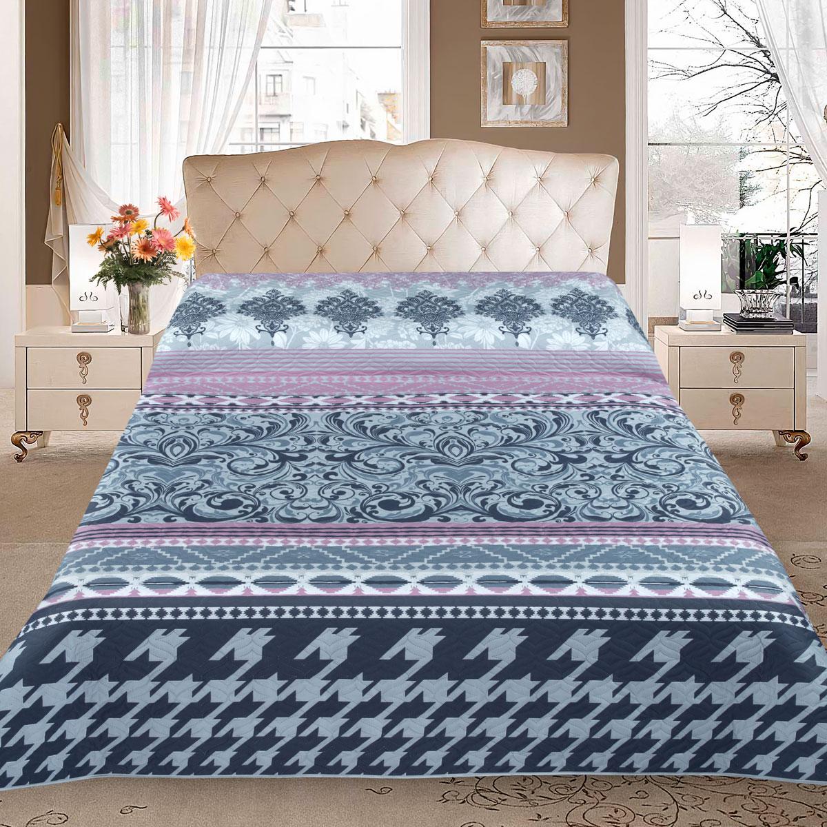 Покрывало Letto, цвет: синий, 210 x 240 см. pp26 letto двустороннее покрывало одеяло велокот 140 200 см