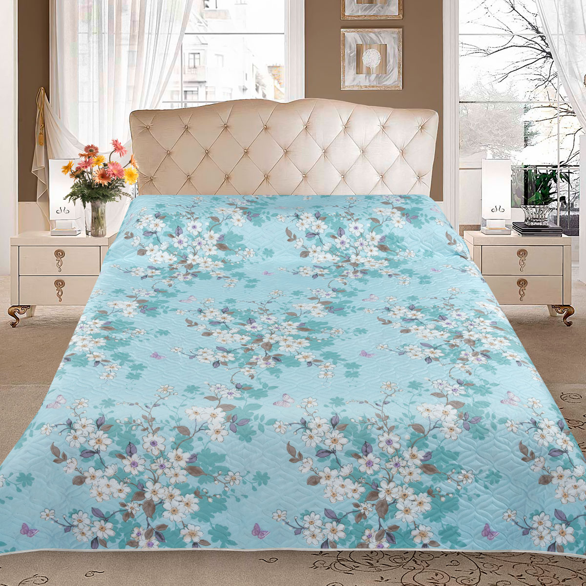 Покрывало Letto, цвет: голубой, 210 x 240 см. pp29