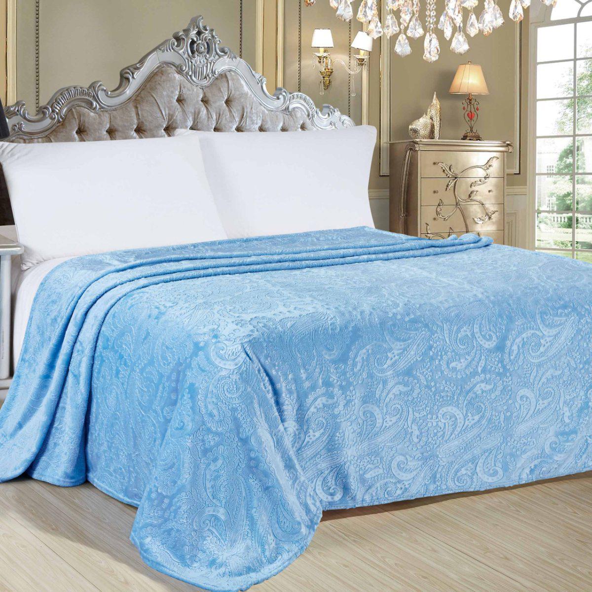 Плед Letto Велсофт, цвет: голубой, 175 х 200 см. V142-4