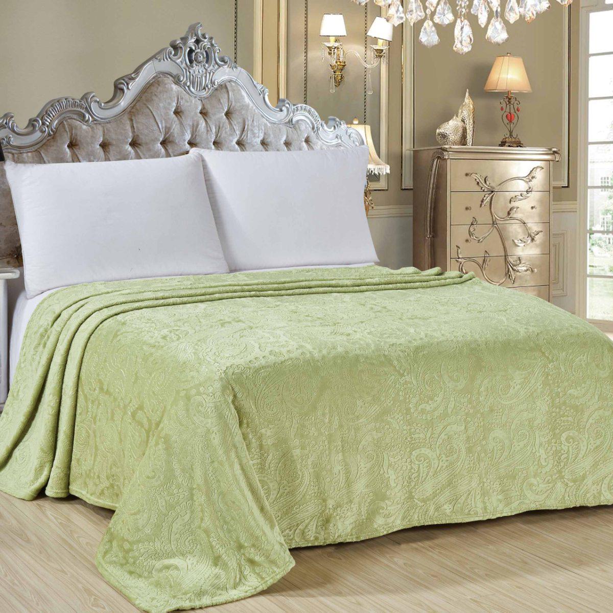 """Плед Letto """"Велсофт"""", цвет: зеленый, 175 х 200 см. V136-4"""