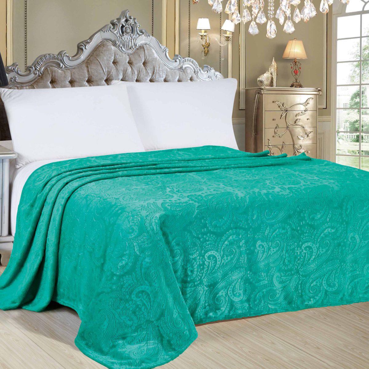 Плед Letto Велсофт, цвет: зеленый, 175 х 200 см. V144-4