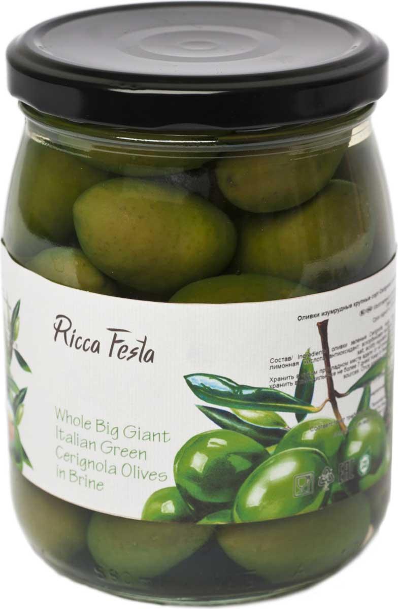 Ricca Festa Оливки зеленые крупные в оливковом масле с косточкой, 580 мл santolino оливки гигант зеленые с косточкой 314 мл