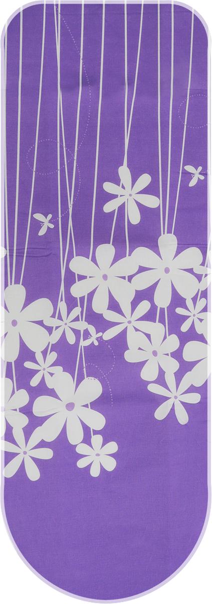 """Чехол для гладильной доски Metaltex """"Special"""", цвет: белый, фиолетовый, 135 х 50 см"""