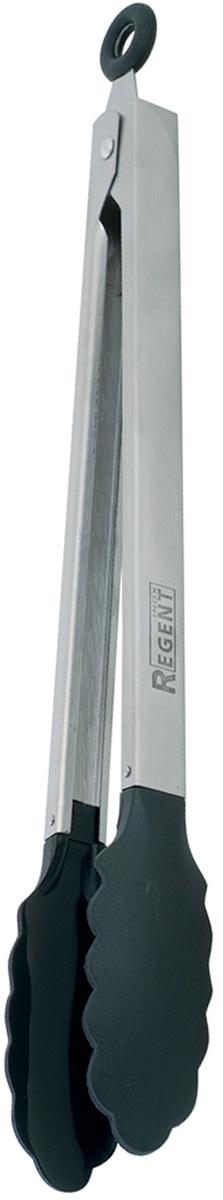 """Универсальные щипцы Regent Inox """"Presto"""", выполненные из высококачественного пластика и  нержавеющей  стали, предназначены для комфортных манипуляций  с приготавливаемым продуктом. Такими щипцами удобно переворачивать мясо, тефтели,  колбаски, рулеты и другие продукты во время приготовления.  Щипцы оснащены кольцом, за которое можно их повесить в удобном для вас месте. Кроме этого,  потянув за него, вы зафиксируете их в сложенном состоянии.    Общая длина щипцов: 31 см."""