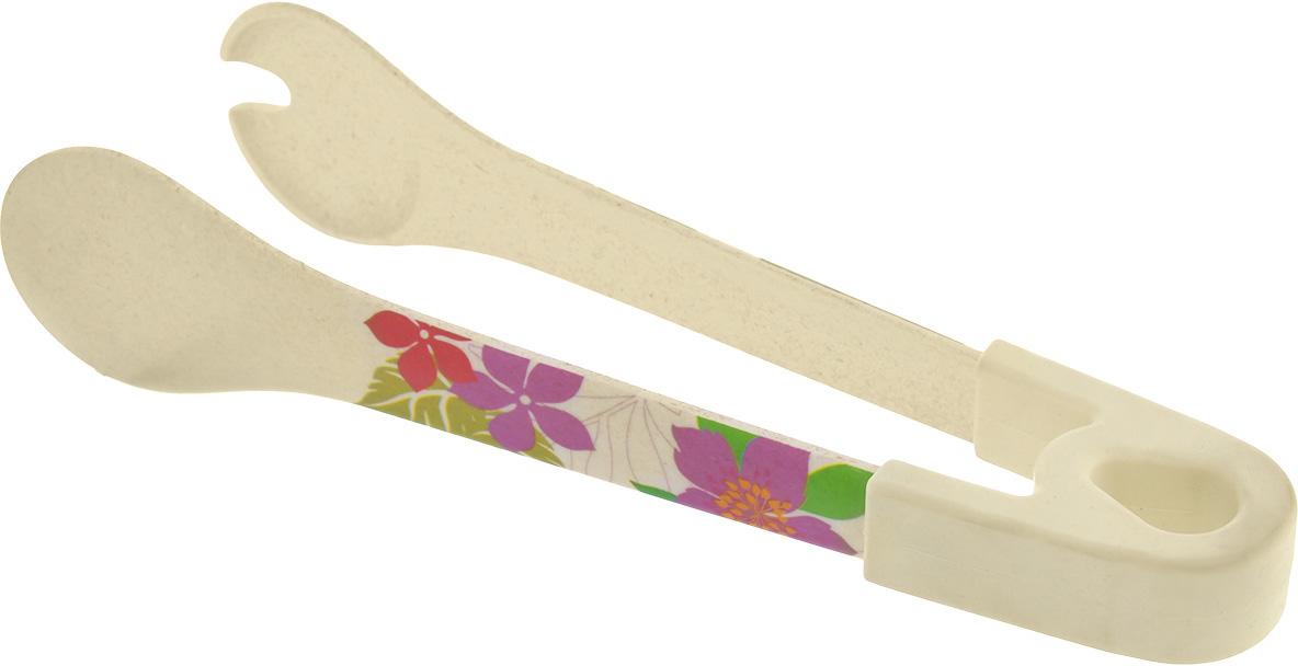 """Кухонные щипцы """"EcoWoo"""" выполнены из экологически чистого бамбукового волокна. Этот материал безопасен для здоровья и окружающей среды, биоразлагаем, изделия из него не бьются, отличаются прочностью и долгим сроком службы.  Щипцы снабжены специальной резиновой накладкой, которая обеспечивает надежный хват и комфорт во время использования. Щипцы предназначены для порциона блюд, переворачивания кусков мяса или рыбы во время приготовления. Яркий цветочный рисунок сделает это прибор настоящим украшением у вас на кухне.  Изделие можно мыть в посудомоечной машине. Не использовать в СВЧ печи. Выдерживает температуру до +70°С."""