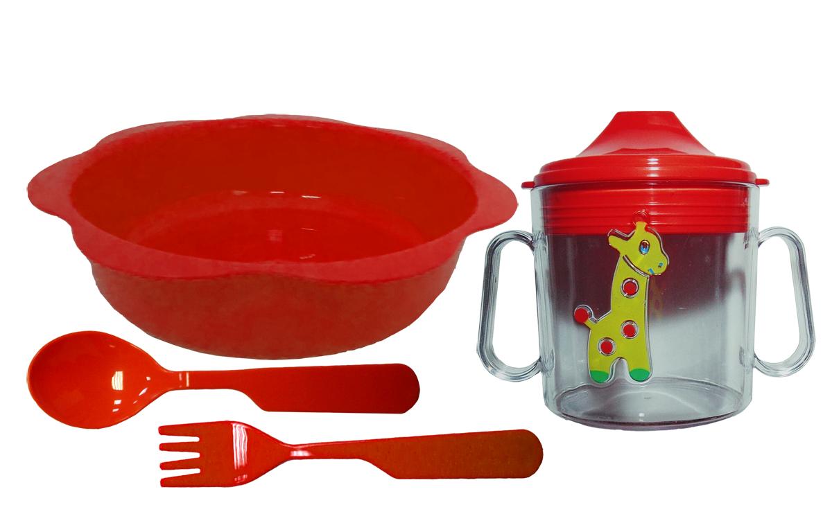 Набор посуды из 4-х предметов, идеальный для начала самостоятельного питания малыша.Форма изготовлена по лучшим европейским технологиям.Яркие цвета и объемная фигурка зверюшки обеспечивают интерес ребенка и удовольствие от кормления.