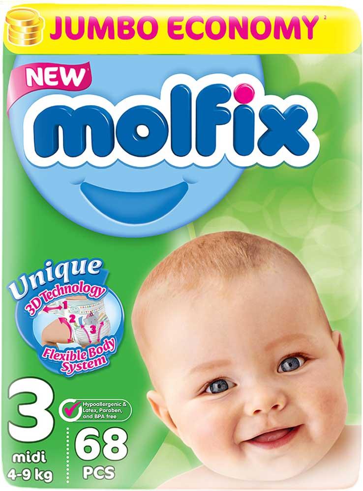 Molfix 3DПодгузники Миди 4-9 кг 68 шт Molfix