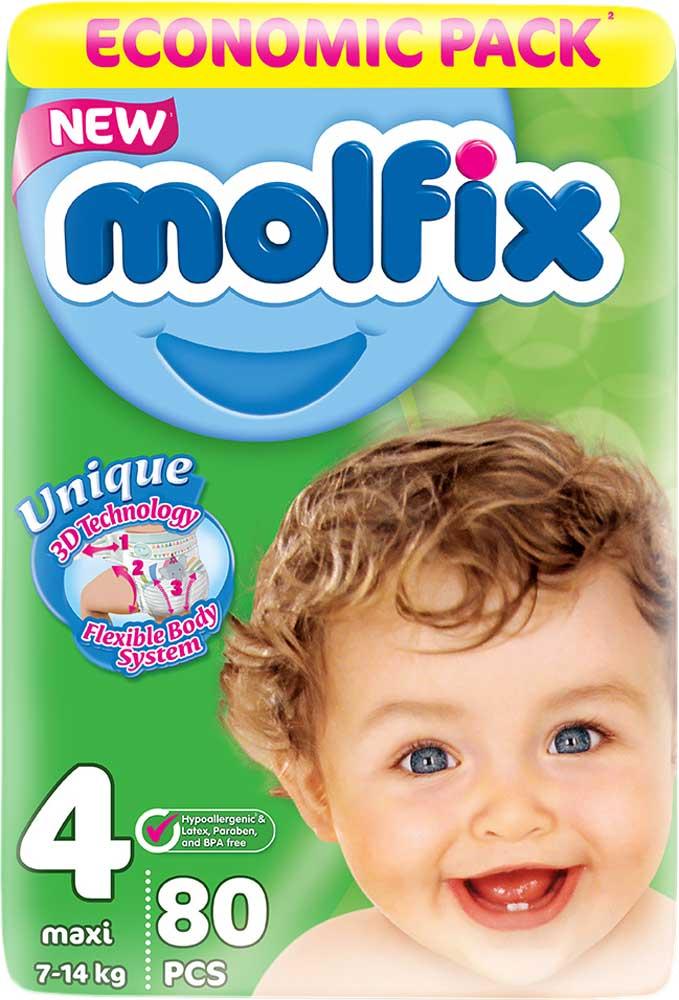 Molfix 3D Подгузники Макси 7-14 кг 80 шт подгузники molfix подгузники макси плюс 4 9 20 кг 54 шт
